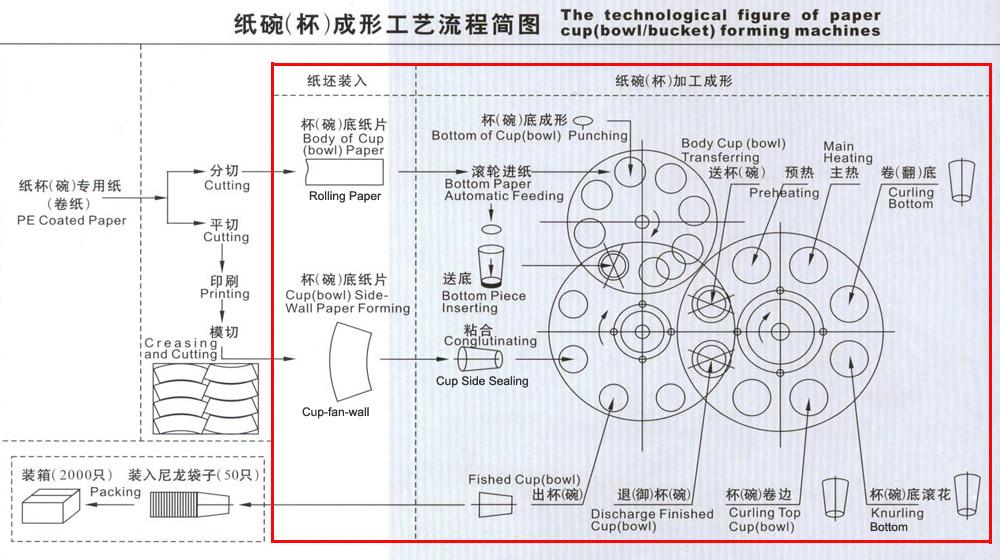 纸杯机,纸碗机,纸桶机的 生产工艺流程图